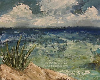 Sand Dunes, Beach, Ocean, Clouds, Seascape, Original Painting, Beach House, Home Decor, Office Art, Travel, Gift, Design, Winjimir, Art.