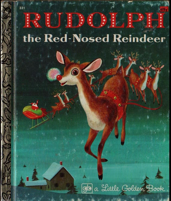 Rudolph the Red-Nosed Reindeer a Little Golden Book + Barbara Shook Hazen + Richard Scarry + 1976 + Vintage Christmas Book