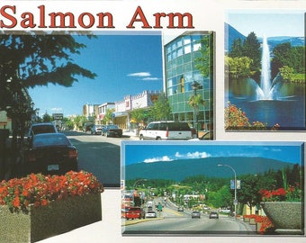 Vintage 1990s Postcard Salmon Arm British Columbia BC Canada Shuswap Lake Scenic City Multiview Photochrome Postally Unused