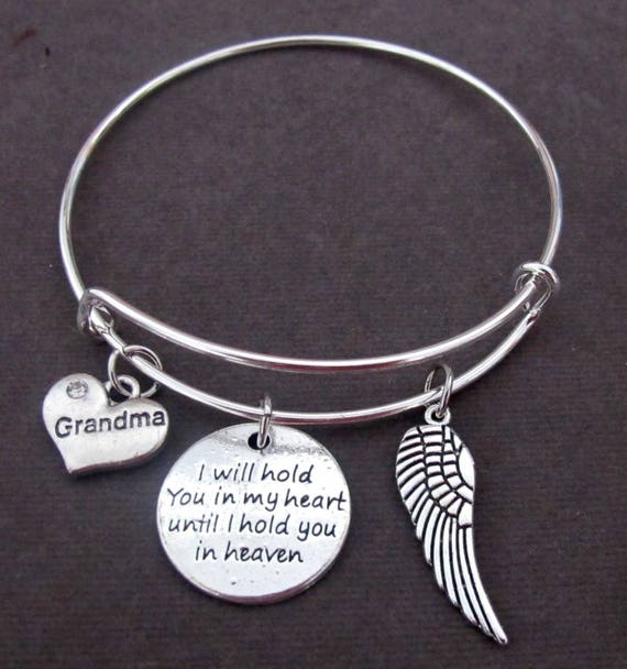 Memorial Bracelet,Sympathy Gift,I will hold you in my heart until I you in heaven,Memory Mom - Dad - Sister-Friend-Grandma,Free shipping USA