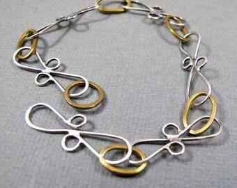 Sterling Siver and Nugold Bracelet Handmade Chain Link Bracelet Pretty Bracelet