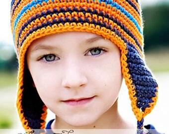Winter Hat for Boys, Navy Blue Earflap Hat, Earflap Stripes Hat, Toddler Boys Winter Hat, Crochet Earflap Hat, Earflap Winter Hat, Boys Hat