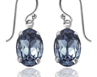 Swarovski Crystal Oval Drop Earrings Sterling Silver Denim Blue or CHOICE OF COLOURS