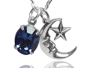 Blue Moon Charm Necklace Sterling Silver Swarovski Crystal CHOICE OF COLOURS