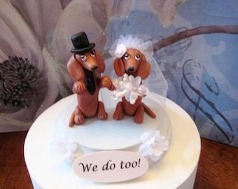 FREE ship, ltd time...Dachshund dogs Wedding Cake Topper, shower, anniversary, clay, handmade, OOAK, interactive