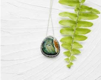 Sterling silver necklace, stone pendant, variscite green necklace, southwestern nature boho artisan jewelry, gift for wife girlfriend sister