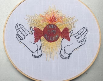 Candy is my Religion - hand drawn and embroidered candy / sacred heart wall hanging hoop art