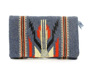 Authentic Antique Chimayo Purse / Vintage 1930s Handwoven Wool Tapestry Blanket Carpet Bag / Southwestern Native American Fred Harvey Concho