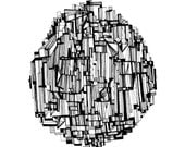 The Round Skyscraper Abstract Fine Art Print of an Original Pen and Ink Drawing