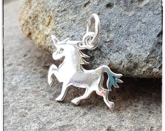 Unicorn Necklace Charm - Flat Sterling Silver Unicorn Necklace - Optional Custom Length Chain