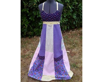 Handmade Hippie Patchwork Panel Dress ~ Purple and Gold ~ Open Back ~ size Small/Medium