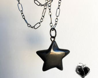 Black Star Necklace Agate on Oxidized Sterling Silver Chain