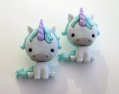 Unicorn stud earrings - baby unicorn, children's jewelry, kids, teen, hipster, fun kawaii jewelry, gift for her, Fairytale, Mythical Horse