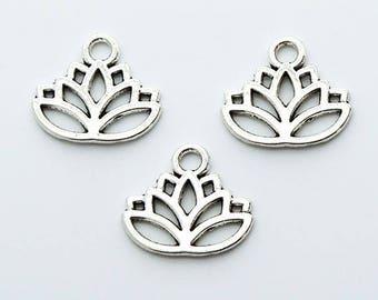 Lotus Flower Charm Pendants 10 pcs. 17x14mm Antique Silver
