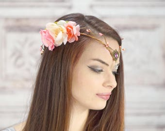Elven Crown, Elven Headdress, Pink and Ivory, Woodland Fairy Flower Crown, Fantasy Headpiece, Headdress, Cosplay, Costume Headpiece, Fairy