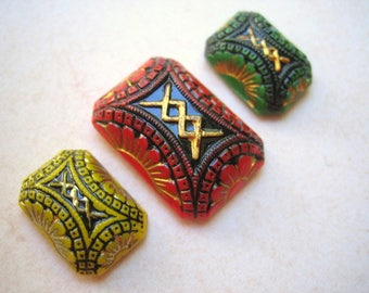 VIntage glass (3) intaglio carved etched enameled stone cab rectangle octagon old 8 x 13mm 25 x18 (3)