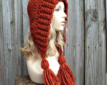 Burnt Orange Crochet Womens Hat - Tassel Hood Ear Flap Hat - Winter Hat - 38 Colors Available - Spice