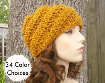 Mustard Womens Hat - Swirl Beanie Mustard Yellow Knit Hat - Mustard Hat Mustard Beanie Yellow Hat Winter Hat - 34 Color Choices