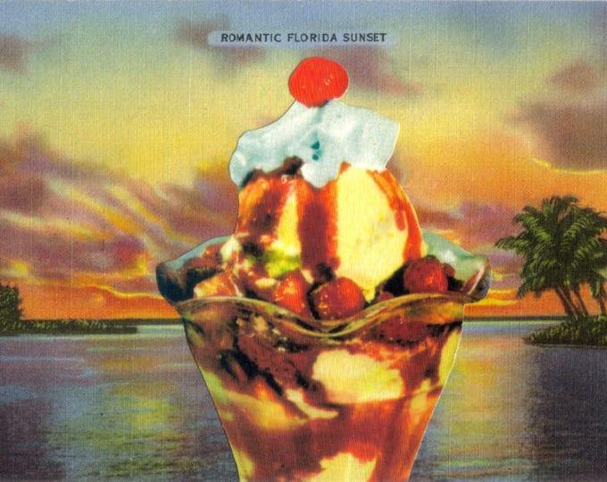 Ice Cream Art Collage, Florida Sunset Artwork