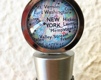 New York City Map Wine Stopper Stainless Steel - featuring Brooklyn, Queens, Long Island, and more -PICK YOUR MAP from 25 choices