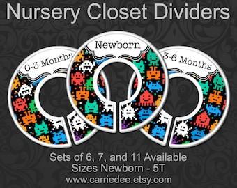 8 Bit Monsters Nursery Closet Dividers, Baby Boys Clothes Organizers, Baby Boy Gift, Monster Nursery Decor, 8 Bit Nursery, 8 Bit Baby