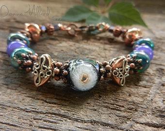 Artisan COPPER BRACELET Artisan Lampwork Bracelet Donna Millard bohemian jewelry gypsy boho gift her