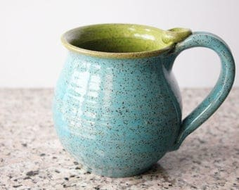 Speckled Mug, Turquoise and Chartreuse -  Holds 15 oz