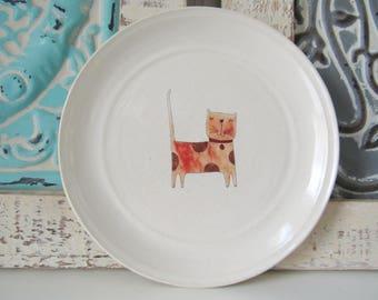 Kitten ring dish, spoon rest or tea bag holder, glazed in white with an orange polka dot cat