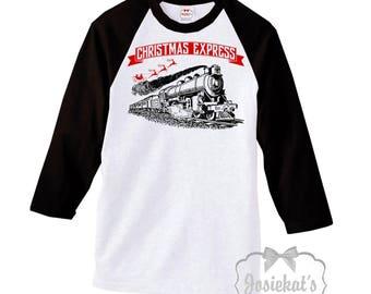 "Christmas Train Shirt - ""Christmas Express"" Shirt - Merry Christmas Baseball Shirt - Family Retro Adult Unisex S M L Xl 2Xl 3X Men Women"