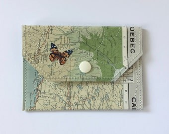 Small Snap Wallet - Vintage Map & Vinyl