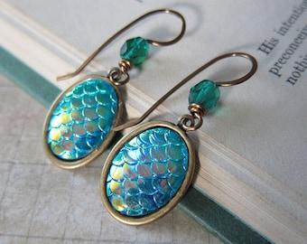 Mermaid Tales - Iridescent Blue Green Mermaid Scale Earrings