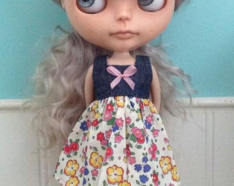 Dress for Blythe - Denim and Liberty Tana Lawn #7