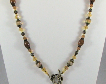 Topaz and Brass Two way Necklace with Earrings
