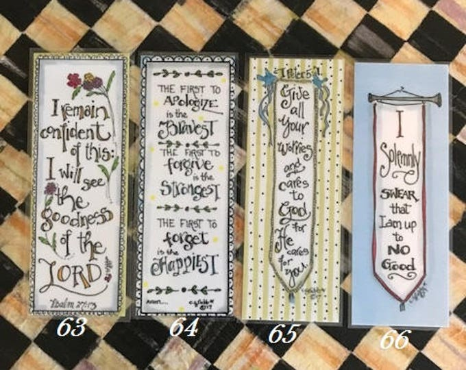 Inspirational Bookmarks-Cindy Grubb_For His Glory-#63-66, Psalm 27 13(Flowers), The Happiest, Peter 5 7(Banner), Harry Potter Theme Banner