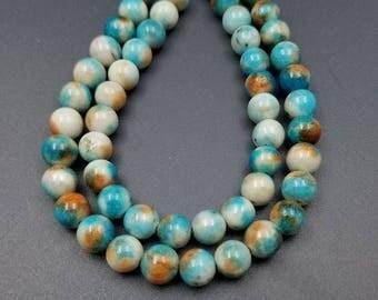 Turquoise, Burnt Orange, Gray, White Jade Beads 8MM (Strand of 50 PCS) (H2595)