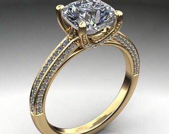 remi ring - 2 carat cushion NEO moissanite engagement ring