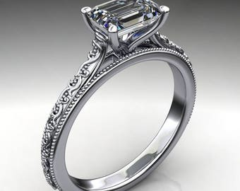 perla ring - 1 carat emerald cut NEO moissanite engagement ring, colorless moissanite