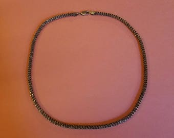 Vintage Sterling Silver Thick Chain 16 inches 925 Italy, Unique Diamond Cut 4 mm