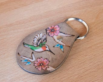 Leather Key Chain -  Ruby Throated Hummingbird and Cherry Blossoms in the May Pattern - Pink, Green and Antique Black