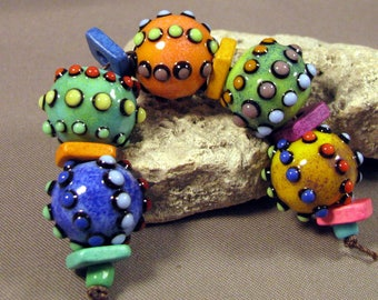 Handmade Lampwork Bead Set by Monaslampwork - Dots, Colors, and Enamels (3994) - Multiple dots, enamels, and color Handmade by Mona Sullivan