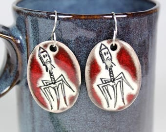 Bacteriophage Ceramic Earrings in Red