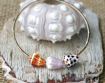 Hawaiian Jewelry, Shell Bangle, Cone Shell Bangle, Cone Shell Bracelet, Hawaii Cone Shell Bangle, Triple Cone Shell Bangle, Beach Style