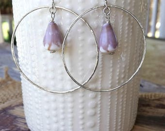 Purple Cone Shell Hammered Hoop Earrings / Color of the Year / Hawaiian Jewelry / Sterling Silver Hoops / Ultra Violet Jewelry / Mermaid