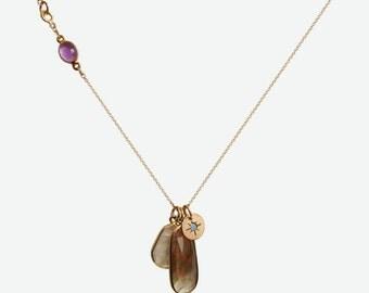 Gemstone charm necklace watermelon tourmaline moonstone opal
