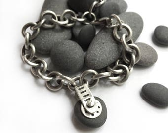 Natural Lake Erie Beach Stone Sterling Silver Bracelet Tiffany Style Cable Chain Gizmo Adjustable