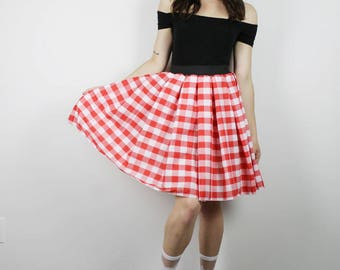 Vintage Gingham Skirt,  Diy RED Checker skirt, Handmade Red Gingham Skirt, Womens skirt, Diy Red White Gingham