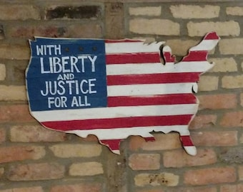 With Liberty and Justice For All United States Shaped Flag Wall Art