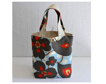 Lunch Bag - Gift Bag - Blue Morning Glory Floral - Fabric Lunch Tote -