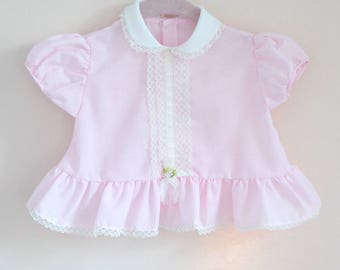 Vintage Baby Blouse / Vintage Pink Baby Top / Size 6 months