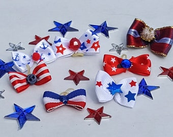 Small Patriotic Puppy Dog Bows - 7 top knot bows- Independence Day, 4th of July, USA, Military, American,